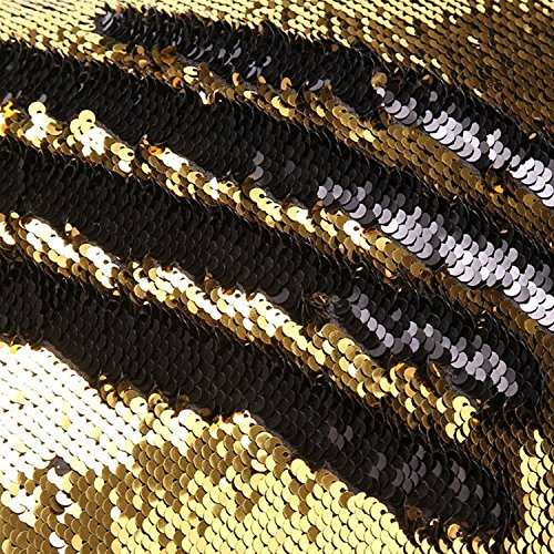 (TRLYC One Yard 5MM Reversible Sequin Fabric Black and Gold Sequin Fabric, By the Yard, Mermaid Sequin Fabric, Linen)