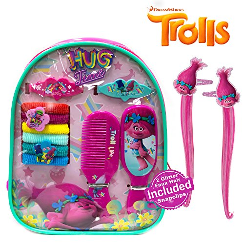 Dreamworks Trolls Girl Backpack Hair Accessory Set Terries Barrettes Comb Mirror (Easy Pinup Hair)