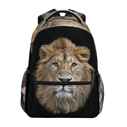 Mochila para portátil de color negro con diseño de león asiático, resistente al agua,