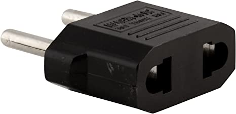 US USA to EU Euro Europe Power Jack Wall Plug Converter Travel Adapter 3-pack