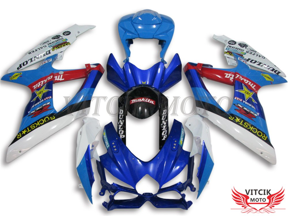 VITCIK (Fairing Kits Fit for Suzuki GSX-R750 GSX-R600 K8 2008 2009 2010 GSXR 600 750) Plastic ABS Injection Mold Complete Motorcycle Body Aftermarket Bodywork Frame (Blue & White) A050