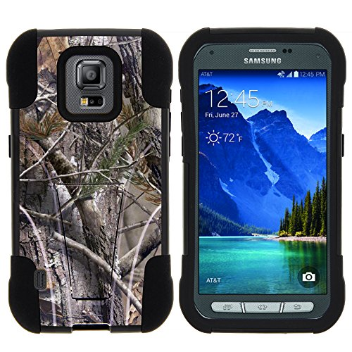 Galaxy S5 Active Case, Full Body Fusion STRIKE Impact Kickstand Case with Exclusive Illustrations for Samsung Galaxy S5 V Active (AT&T) from MINITURTLE | Includes Clear Screen Protector and Stylus Pen - Tree Bark Hunter Camouflage
