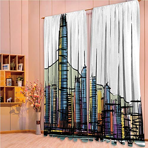 ZHICASSIESOPHIER Darkening Thermal Insulated Short Curtain Adjustable Tie Up Shade Panel for Small Window,Rod Pocket,Kong City Buildings with Tall Skyscrapers Urban 108Wx73L - Rod Blockade Curtain
