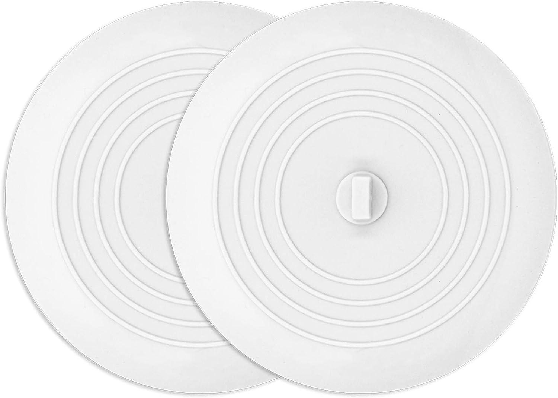 AmazerBath 2 Pack Bath Tub Stopper for Drain, 6 Inches Silicone Shower Drain Bath Plug Stopper for Kitchen, Bathroom, Laundry (White): Home & Kitchen