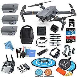 Dji Mavic Pro Drone Quadcopter Flymore All You Need & More Combo W 3 Batteries, 4k Professional Camera Gimbal Bundle Kit W Amazing Accessories