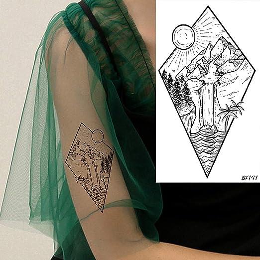 tzxdbh 5 Unids Moda Diamante Sol Cascada Río Coco Árbol Tatuajes a ...