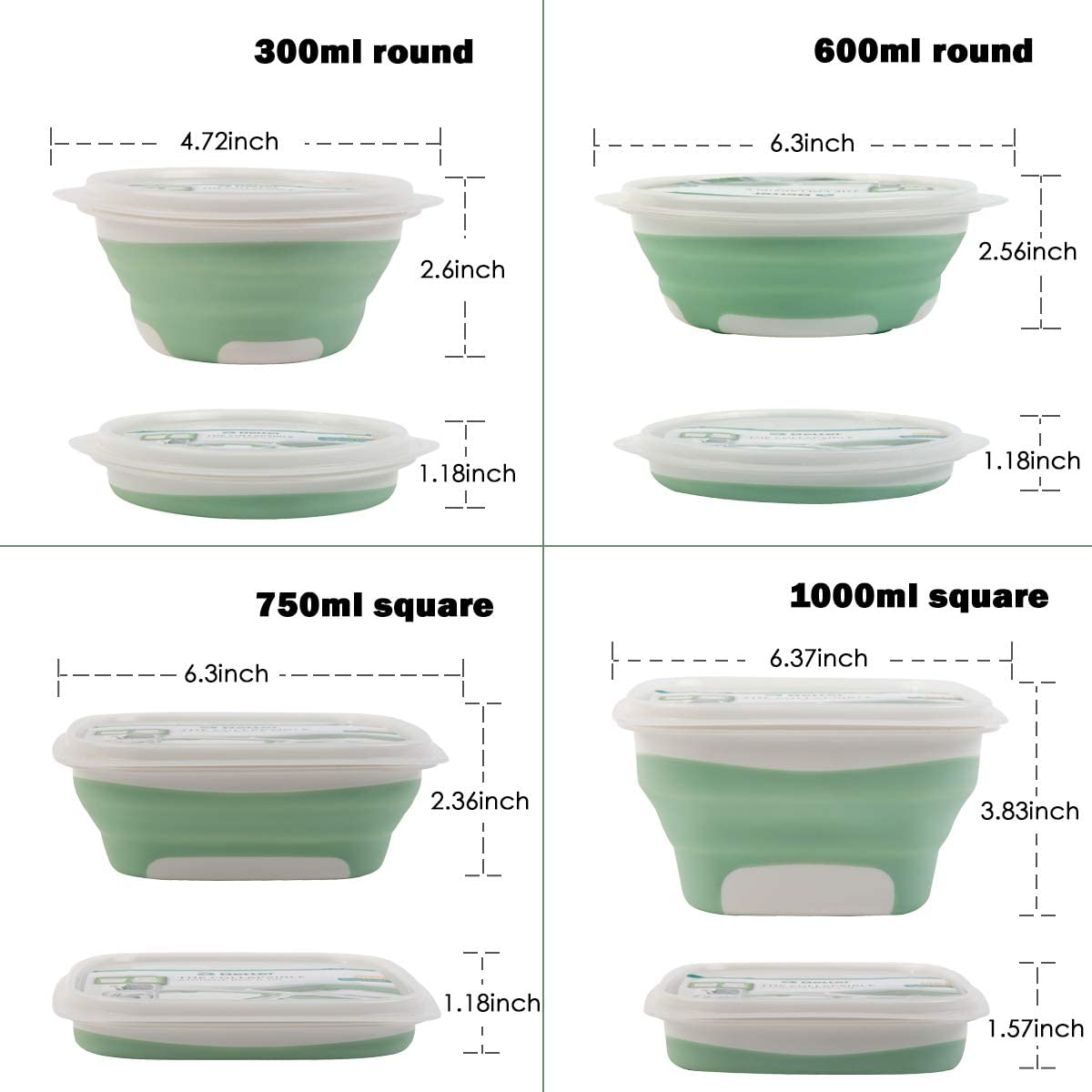 Dry natural silicone food containers