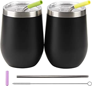 12 oz Stainless Steel Wine Tumbler with Lid and Straws, 2 pack Double Wall Vacuum Insulated Travel Wine Glass, Stemless Coffee Mug Cup for Wine, Coffee, Ice Cream, Cocktails, Champagne - Black
