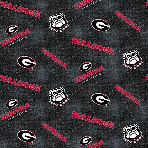 UNIVERSITY OF GEORGIA FLANNEL FABRIC WITH DISTRESSED GROUND-GEORGIA BULLDOGS 100% COTTON FLANNEL FABRIC SOLD BY THE YARD (100 Cotton Flannel Fabric By The Yard)
