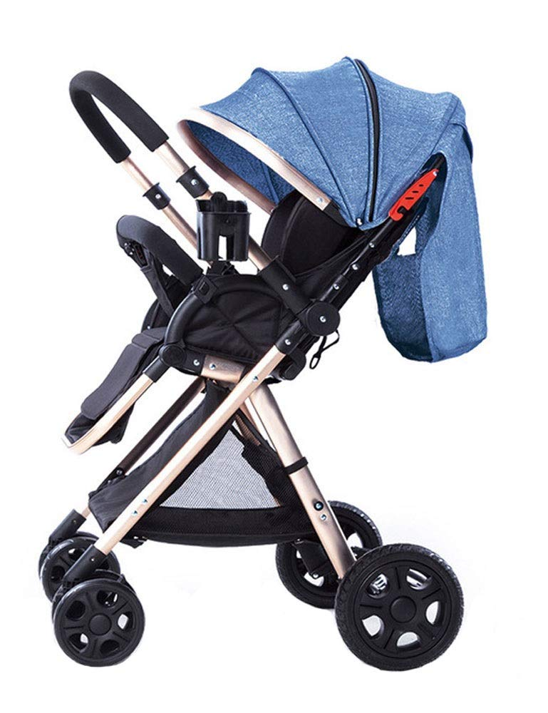 HJQJPYS666 Children's Trolley High Landscape Lightweight Folding Four-Wheeled Children's Trolley with 5-Point Harness Design (Color : Blue)