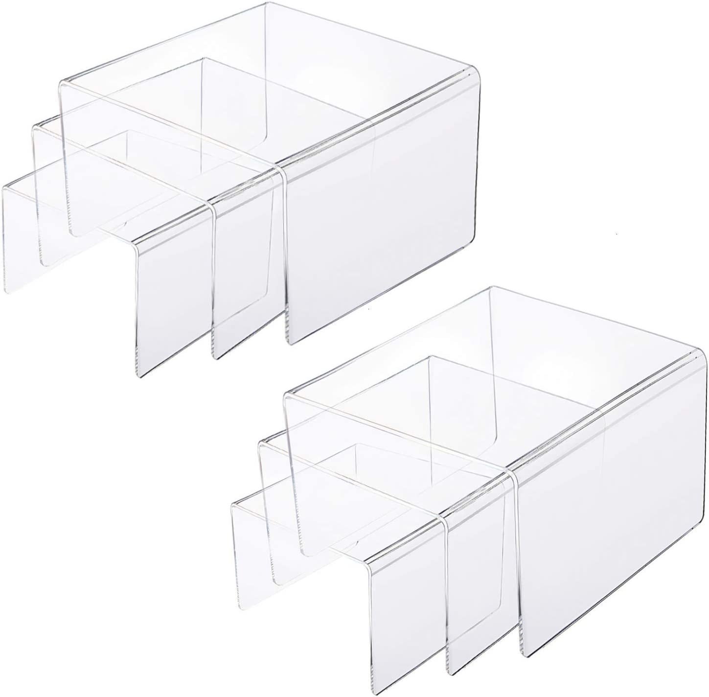 """Gonioa 2 Set Display Risers Clear Acrylic Riser Shelf Showcase Fixtures Jewelry Collectibles Display Stands for Amiibo Pop Figures,Cake Stands for Candy Dessert Table Decorations-3""""x4""""x5"""" (6pcs)"""