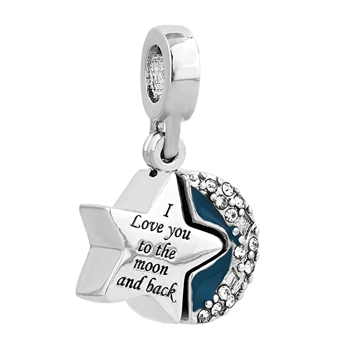 "Korliya Mond- und Herzform-Amulett für europäisches Armband ""I Love You To The Moon And Back""-Amulett Stern-"