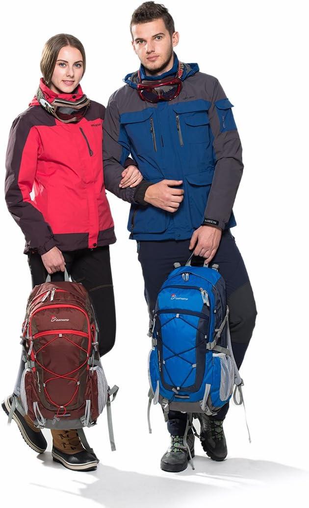 MOUNTAINTOP Mochilas Senderismo 40 litros Alta Capacidad Impermeable Hombre Mujer Escalada Deporte Morral con Cubierta De Lluvia para Viajes Acampadas