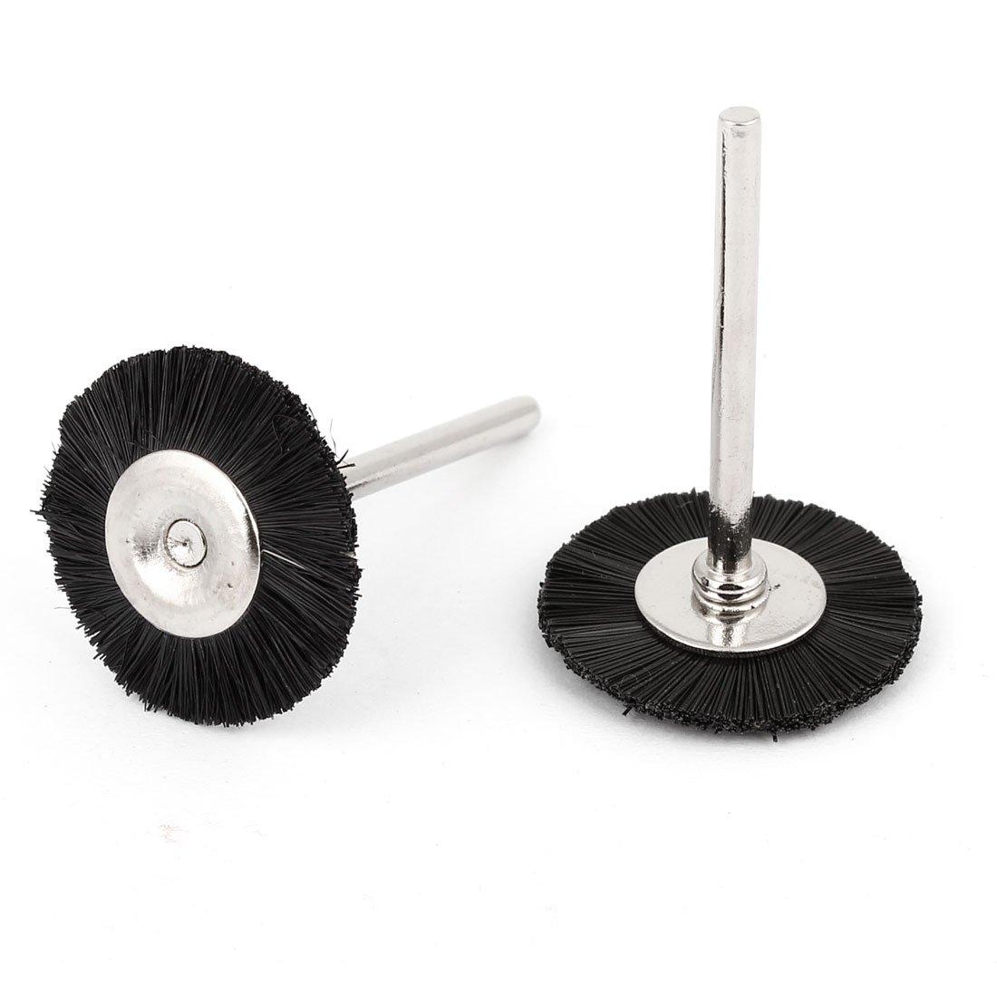 2 piezas 25 mm de diá metro de impresora de nailon negro cepillo ruedas de pulido para herramienta rotativa Sourcingmap a14062300ux0382