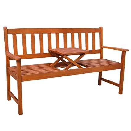 Amazon.com: SKB Banco de jardín familiar con mesa ...