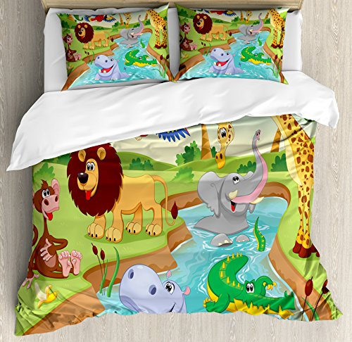 - Ambesonne Kids Decor Duvet Cover Set, Cartoon Safari African Animals Swimming in The Lake Elephant Lions and Giraffe Theme Art, A Decorative 3 Piece Bedding Set with Pillow Shams, Queen/Full, Multi