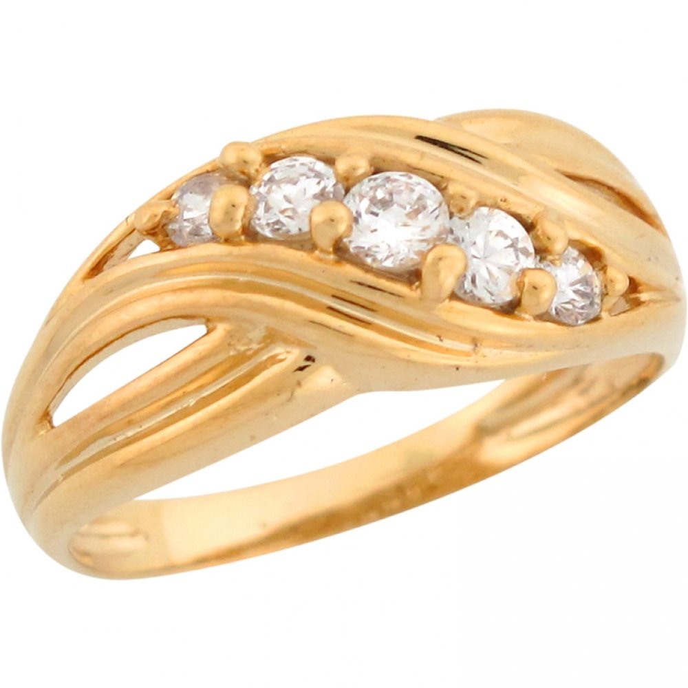 Jewelry Liquidation 14k Yellow Gold Five-Stone Round Cut White CZ Crossover Modern Band Ladies Ring