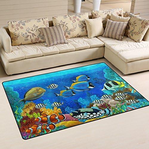 LORVIES Underwater World Fish Animals Area Rug Carpet Non-Slip Floor Mat Doormat