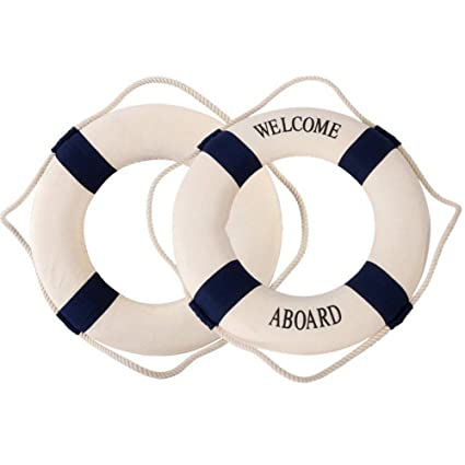 Naisicatar Salvavidas Marino méditerraneen Flotador de natación Anillo casa decoración o el Muro Ornamentos Decorativos Azul
