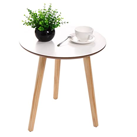 Three Legged Coffee Table.New White Modern Round Coffee Table Simple Style End Table W Pine Wood Legs