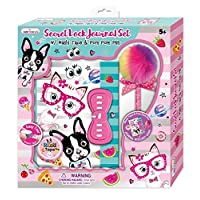 Hot Focus Girls Diary and Pen Set Cat Puppy Dog Book with Pompom Pen and Decorating Tape