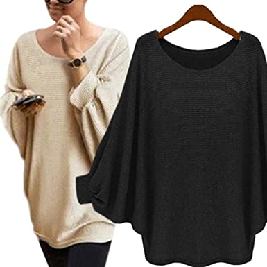 Phoenix Womens Oversized Batwing Knitted Pullover Loose Sweater ...