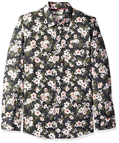 Goodthreads Men's Slim-Fit Long-Sleeve Printed Poplin Shirt, Black Wallpaper Floral, XX-Large Tall
