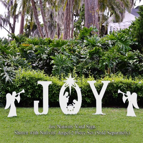 Amazon.com : Teak Isle Christmas Joy Nativity Yard Sign : Yard Art : Garden  U0026 Outdoor