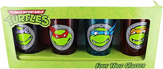 Amazon.com | Teenage Mutant Ninja Turtle Face Pint Glass Set ...