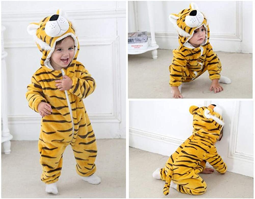 Spring and Autumn Flannel Animal Shape Romper Childrens Clothing Newborn Clothing#D002 80, Tiger