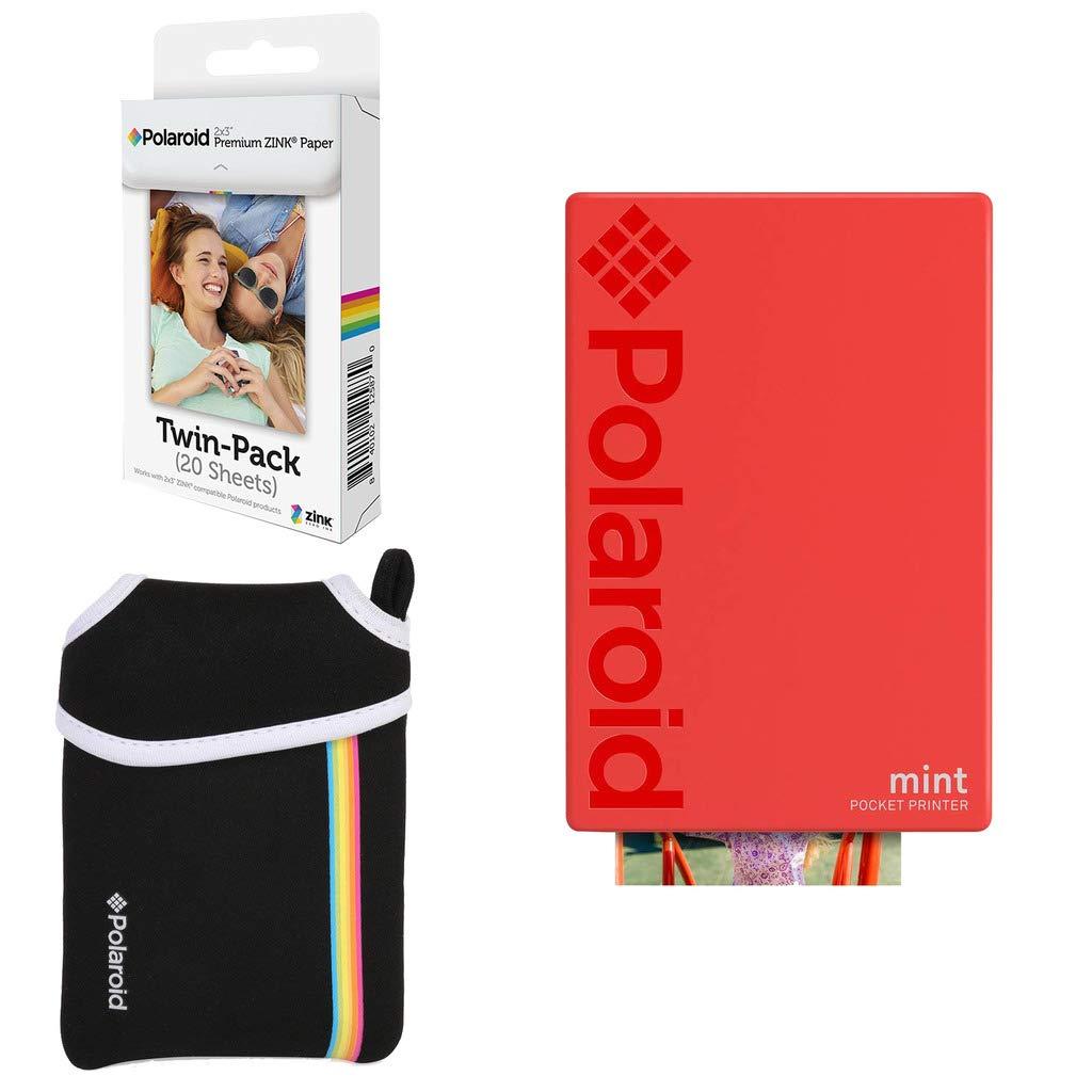Polaroid Mint: Impresora instantánea de Bolsillo (Rojo) Paquete básico + Papel (20 Hojas) + Funda Deluxe