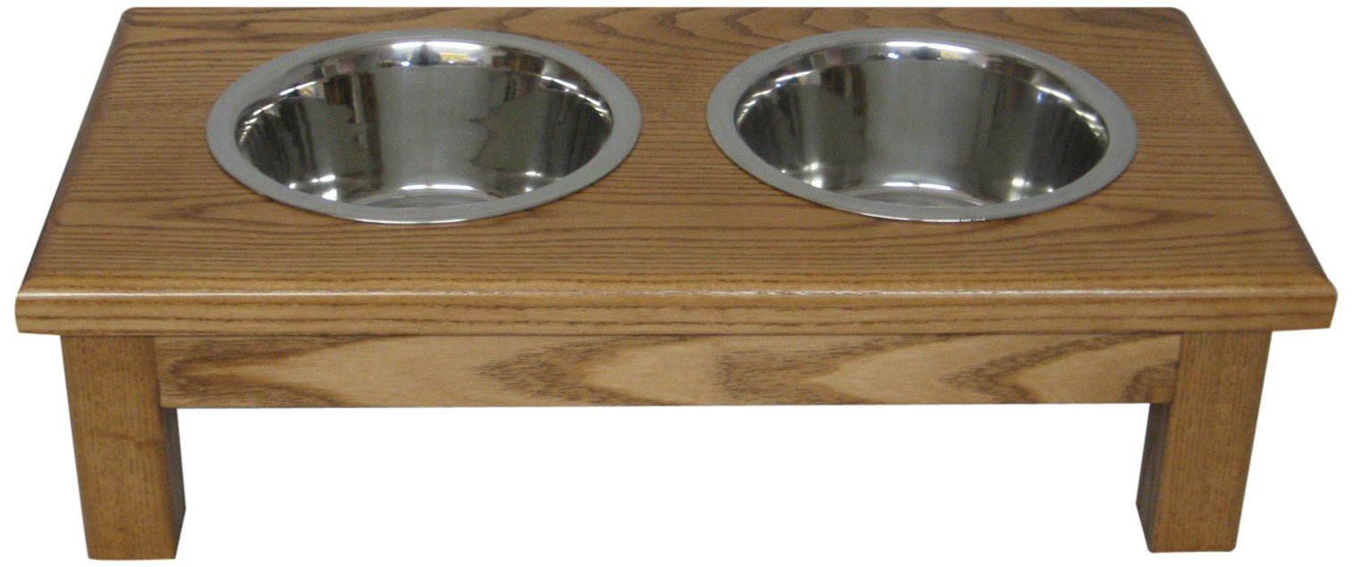 Classic Pet Beds 2-Bowl Small Traditional Style Ash Pet Diner, Medium Walnut