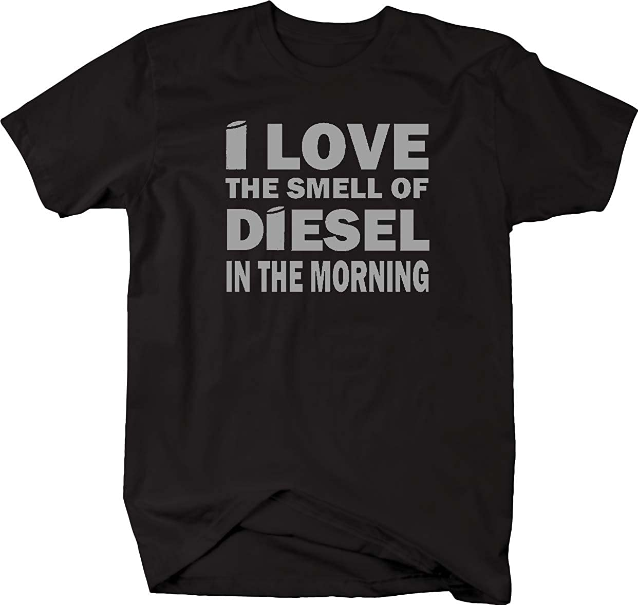 the Smell of Diesel in Morning Stacks Trucker Black Smoke Mens T Shirt-4LVS