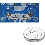 2 X RENATA pile montre Cell Pile Suisse faite d'oxyde d'argent 0% mercure Batterie montre pile bouton Renata 1.55 V PILE – longue durée - argenté, 321 (SR616SW)