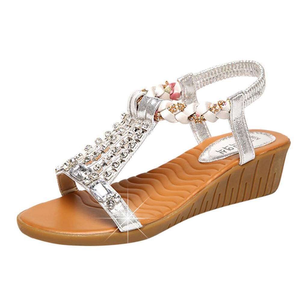 Womens Spring Summer Wedge Sandals,❤️ FAPIZI Ladies Open Toe Crystal Bling Shoes Casual Boho Beach Roman Sandals Shoes Silver