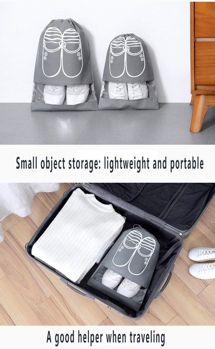 Large Medium Shoe Organizer Pouch Non-Woven Dust Proof Drawstring Shoes Storage Bags with Transparent Slot for Men and Women Waterproof Shoe Organizer Bags DXIA 10 Pcs Portable Travel Shoe Bag
