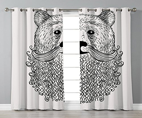 Stylish Window Curtains,Indie,Doodle Style Sketch Bear Portrait with Curly Beard and Mustache Cute Cool Animal Decorative,Black White,2 Panel Set Window Drapes,for Living Room Bedroom Kitchen -