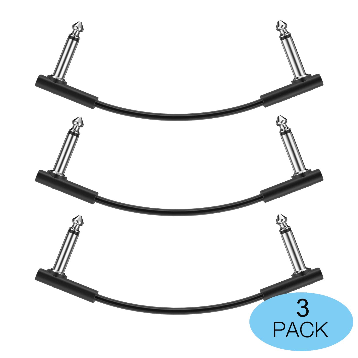Donner 30CM Guitar Flat Patch Cable Black 6-Pack