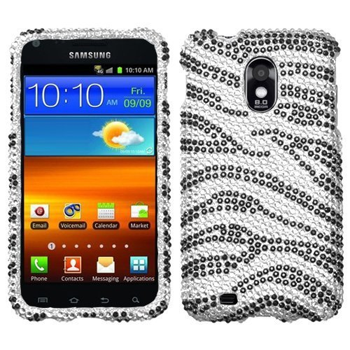 Hard Diamante Protector Skin Cover (Faceplate/Snap On) Full Rhinestones Diamond Bling for Samsung Epic 4G Touch (Galaxy S II) D710 Sprint - Black Zebra (Full Snap Zebra Rhinestones)