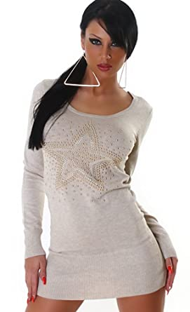 Jela London Damen Strickkleid Kleid Nieten-Stern Einheitsgröße 32,34,36,38 1fdfec4d93