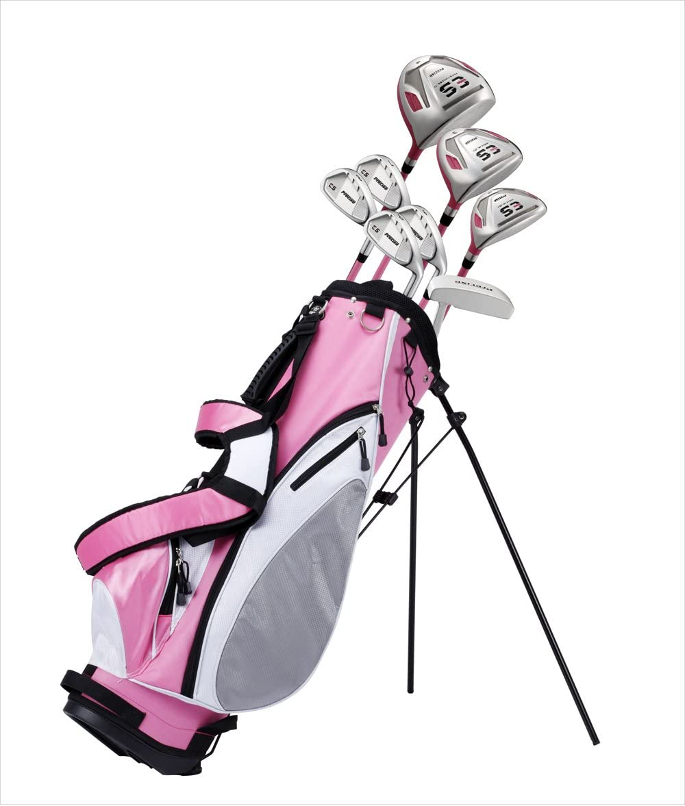 Precise ES Ladies Womens Complete Right Handed Golf Clubs Set Includes Titanium Driver, S.S. Fairway, S.S. Hybrid, S.S. 7-PW Irons, Putter, Stand Bag, 3 H C s Pink – Choose Size Regular Size