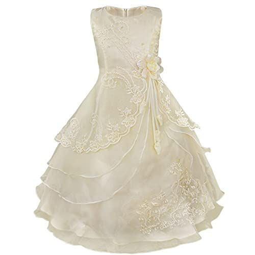 iEFiEL Girls Embroidered Layered Flower Dress Formal Wedding Party Bridesmaid Dresses Prom Ball Gown