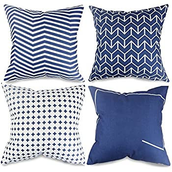 popeven navy blue decorative pillow covers set of 4 couch sofa pillow covers cushion case 18
