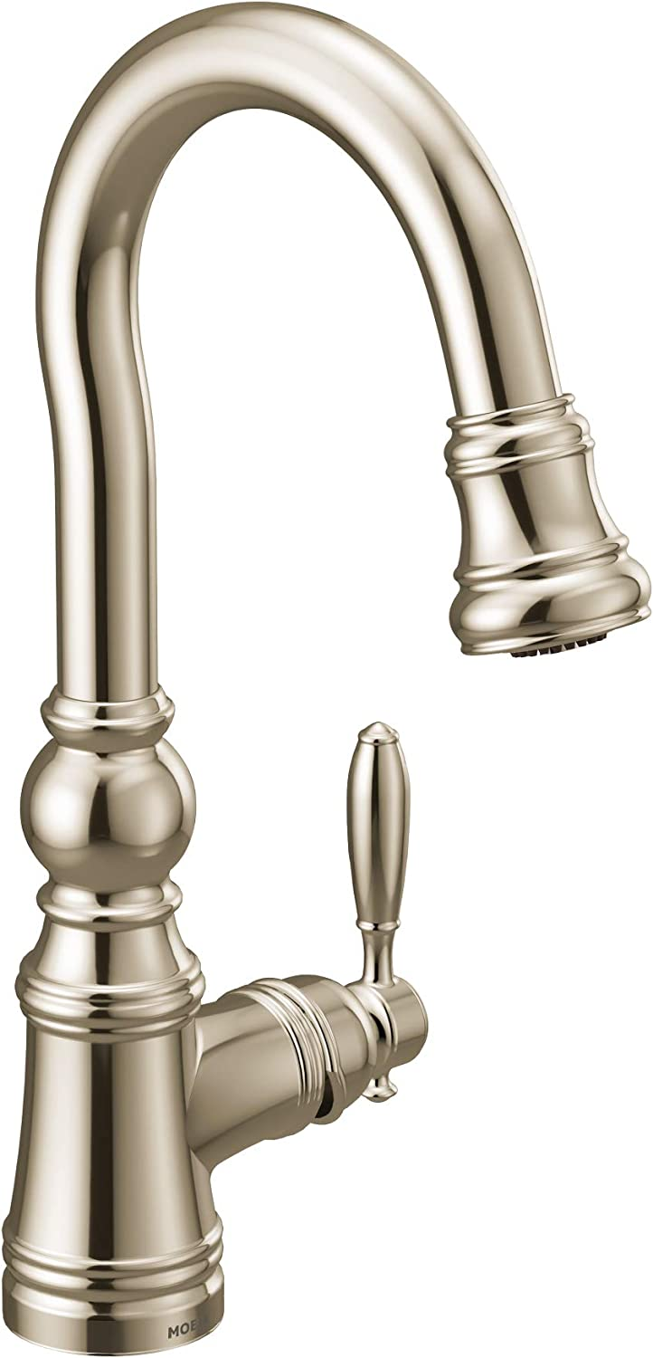 Moen S53004NL Weymouth Shepherd's Hook Pulldown Kitchen Bar Faucet Featuring Metal Wand with Power Clean, Brushed Nickel