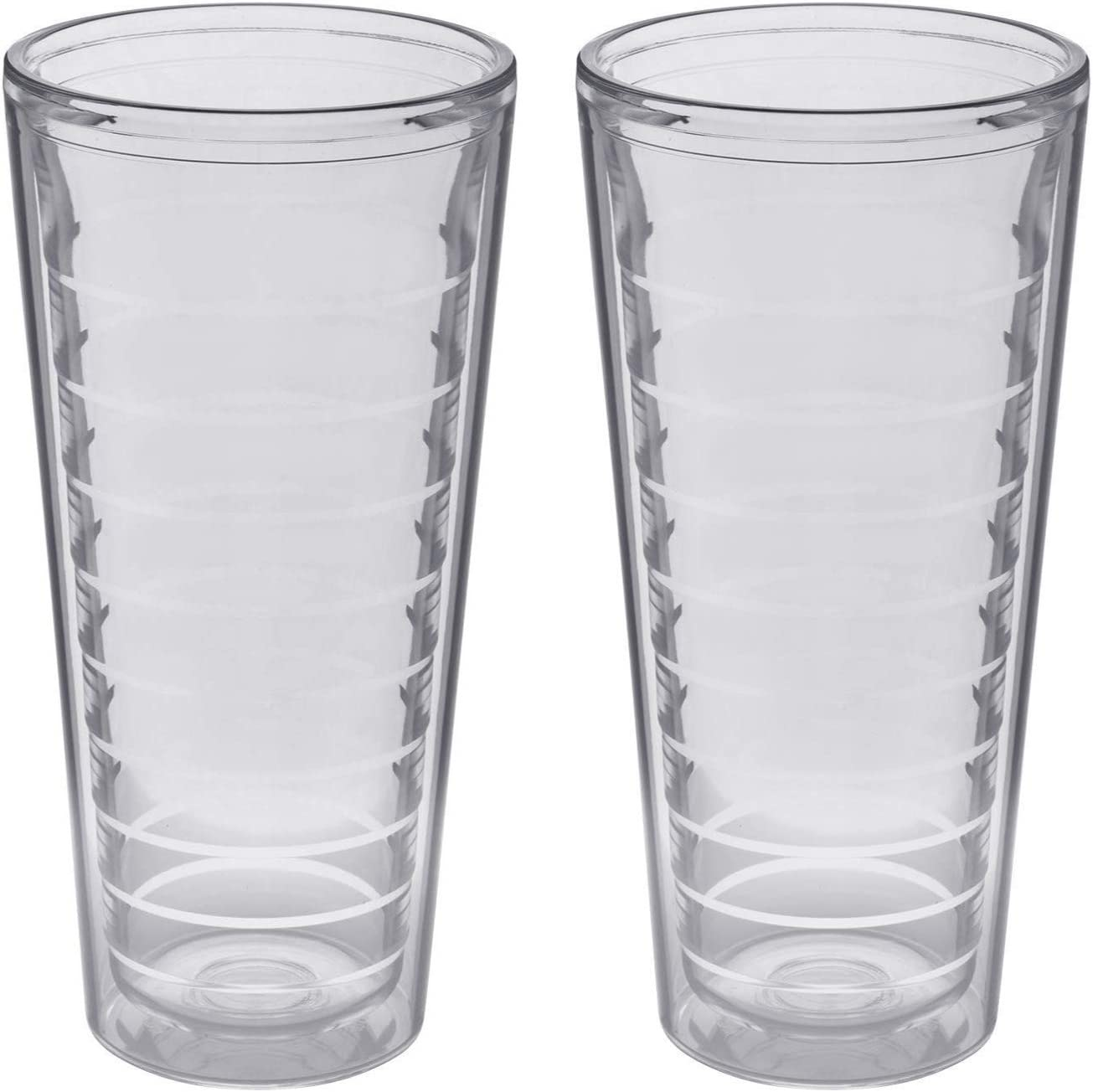 2-pack Insulated 22 Ounce Tumblers - Drinking Glasses Made in USA - Clear (22oz Insulated Glasses)