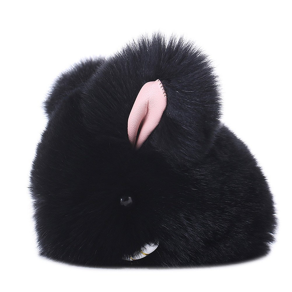 BUYITNOW Fluffy Rabbit Keychain Soft Faux Fur Bunny Keyring Bag Hanging Charms