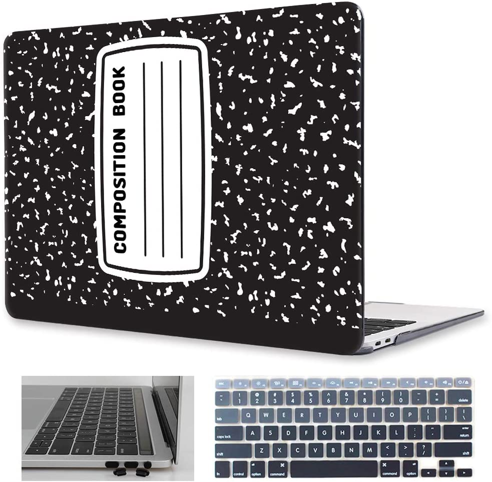 Mektron 13 inch MacBook Air Case A1466/A1369 (2010-2017 Release), Composition Book Pattern Plastic Hard Shell with Keyboard Cover & Dust Plug
