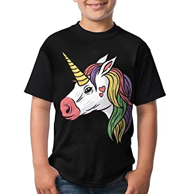 Teenager Boys colorful Unicorn With Loving Heart Short Sleeve T-Shirts Fashion Design 3D Printed T-Shirt Casual Blouse