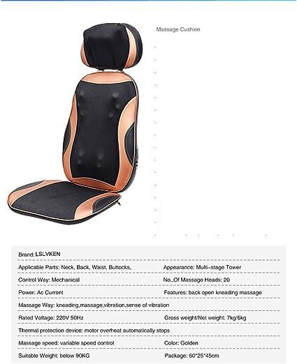 LSLVKEN Inicio Cervical masajeador Cuello Cintura Espalda Silla eléctrica cojín Cuerpo Almohada multifunción cojín de Hombro: Amazon.es: Hogar