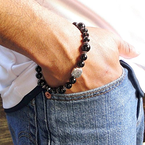 Mens Black Onyx Bracelet with Bali Sterling Silver, High Quality Gemstone Beaded Jewelry for Gentlemen - Handcrafted in USA